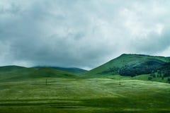 Collines et prés, forêt et nuages verts sur le fond Photos libres de droits
