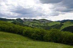 Collines vertes dans un jour nuageux Image stock