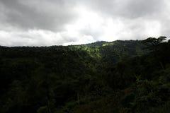 Collines vertes de roulement et un ciel nuageux image libre de droits