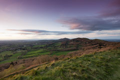 Collines Worcestershire de Malvern au coucher du soleil Photos stock