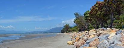Collingwood海滩低潮中的全景,新西兰 免版税库存照片