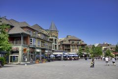 COLLINGWOOD, ON, CANADA - JULY 20, 2017: View of lodging and sho Stock Photography