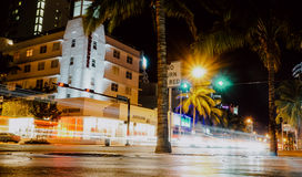 Collins Avenue, Miami Beach. Slow shutter photo of Collins Avenue in South Beach, Miami Beach, Florida Stock Images