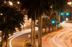 Collins Avenue at Night Royalty Free Stock Photos
