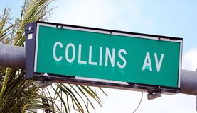 Collins avenue street sign street in Miami South beach Florida. Collins avenue sign street in Miami South beach Florida green Stock Image