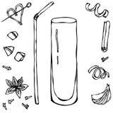 Collins Cocktail Glass Ilustración drenada mano del vector Foto de archivo