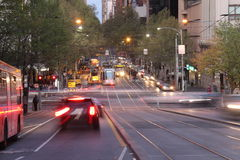 Collins Street Melbourne. Shot of traffic at Collins Street near Southern Cross Station in Melbourne, Victoria, Australia Stock Photos