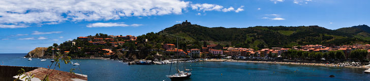 Collioure bay panoram Royalty Free Stock Photography