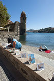 Collioure Beach artist royalty free stock image