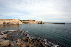 Collioure befästningar Arkivfoto