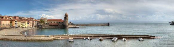 Collioure en Havenpanorama Royalty-vrije Stock Afbeeldingen