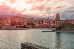 Collioure. France. French part of the coast Vermillion in the Me royalty free stock photography
