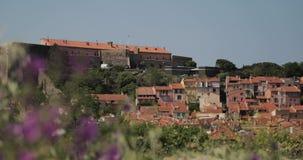 Collioure, Francia Visualizzazione dall'ancoraggio in porta al giorno di Collioure Hilly Cityscape In Sunny Spring stock footage