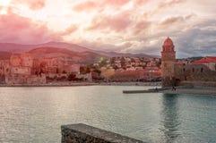 Collioure frankrijk Frans deel van kustvermillion in me royalty-vrije stock fotografie