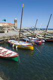 Collioure harbour and anchovy boats Stock Image
