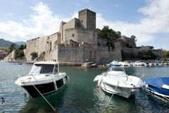 Collioure, harbour and the castle Royalty Free Stock Photos