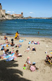 Collioure harbour castle beach stock photography