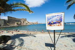 Collioure harbour beach castle Stock Images