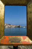 Collioure harbour and church Royalty Free Stock Photography
