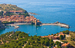 Collioure harbour, Languedoc-Roussillon, France, french catalan coast Royalty Free Stock Photo