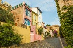 Collioure-Hintergasse Stockfotografie