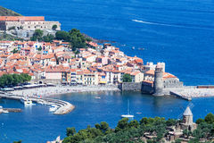 Collioure, historic harbor in Catalonia, France Royalty Free Stock Images