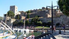 Collioure kunglig slott Arkivfoto