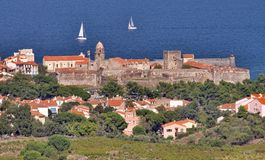 Collioure, Mediterranean Sea coast. Village of Collioure, Vermilion coast, Languedoc-Roussillon, France Stock Images