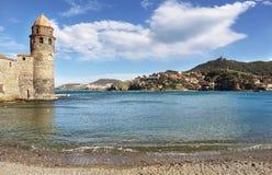 Collioure, middeleeuwse vestingsmuren, Frankrijk Royalty-vrije Stock Foto