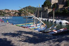 Collioure The Port. The Port in Collioure, Pyrennée Orientale Languedoc, FrancernCollioure used to be divided into two villages separated by the river Douy, the Stock Images