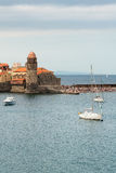 Collioure view in cloudy day Royalty Free Stock Photos