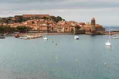 Collioure view in cloudy day Royalty Free Stock Photo