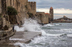 Collioure waves, South France Royalty Free Stock Photos
