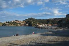 Collioure wybrzeże, Roussillon, Francja zdjęcie stock