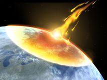 Collision of an asteroid with the Earth. Global accident - collision of an asteroid with the Earth royalty free illustration