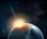 Collision of an asteroid with planet Stock Images
