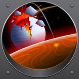Collision of the asteroid with the planet. A look from the spaceship. stock illustration