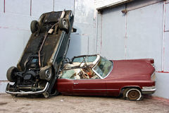 Collision. Car Accident in the industrial area Stock Photo