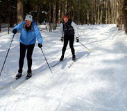 Fun on Cross Country Skis. Skinny skis spell trouble for this couple as they slide down a slippery slope toward the camera man Royalty Free Stock Photography