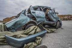 Collision damaged car Stock Photos