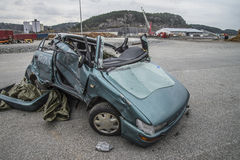 Collision damaged car Stock Photography