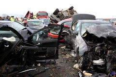 collision de 28 véhicules Images stock