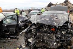 collision de 28 véhicules Photos stock