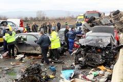 collision de 28 véhicules Photo stock