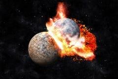 Collision de planètes Photo stock