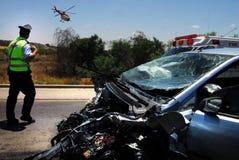 Collision du trafic en Israël Photographie stock libre de droits