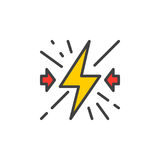 Collision filled outline icon, line vector sign, linear colorful pictogram. Royalty Free Stock Images