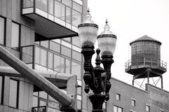 Collision of old and new buildings in Pearl district, Portland.  Royalty Free Stock Photo