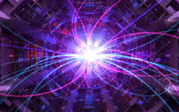 Collision of Particles. In the Abstract Collider stock illustration