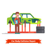 Collision repair center specialist checking car. Collision repair center body shop specialist checking car body on a frame machine. Flat style vector royalty free illustration